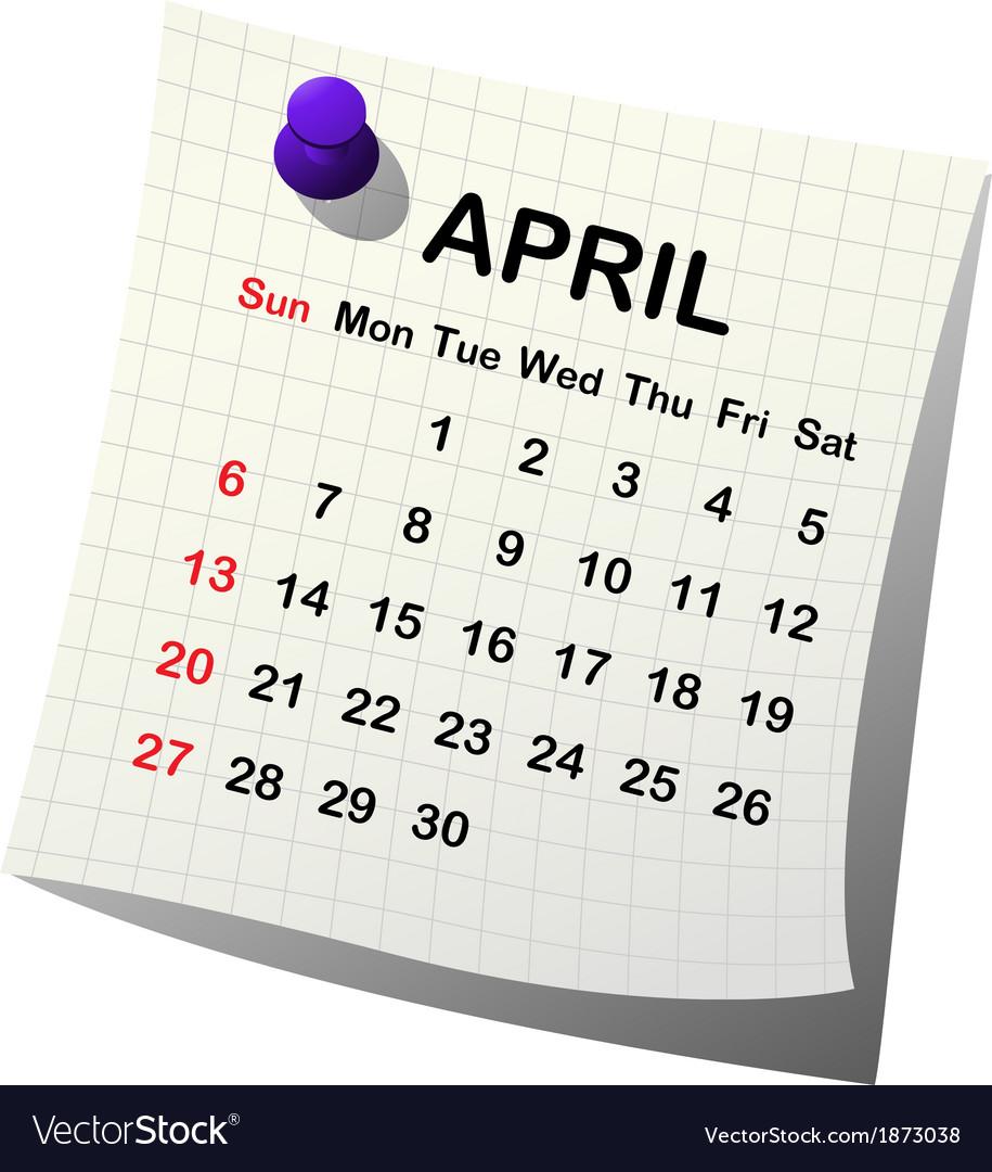 2014 paper calendar for april vector   Price: 1 Credit (USD $1)