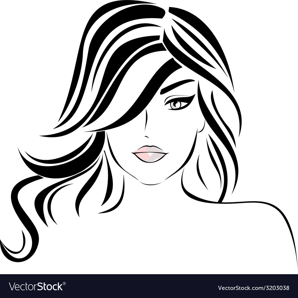 Beautiful girl with wavy hair vector | Price: 1 Credit (USD $1)