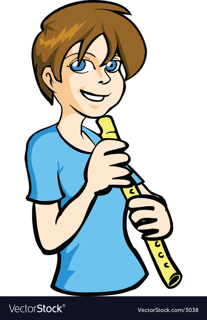Boy playing flute vector | Price: 3 Credit (USD $3)