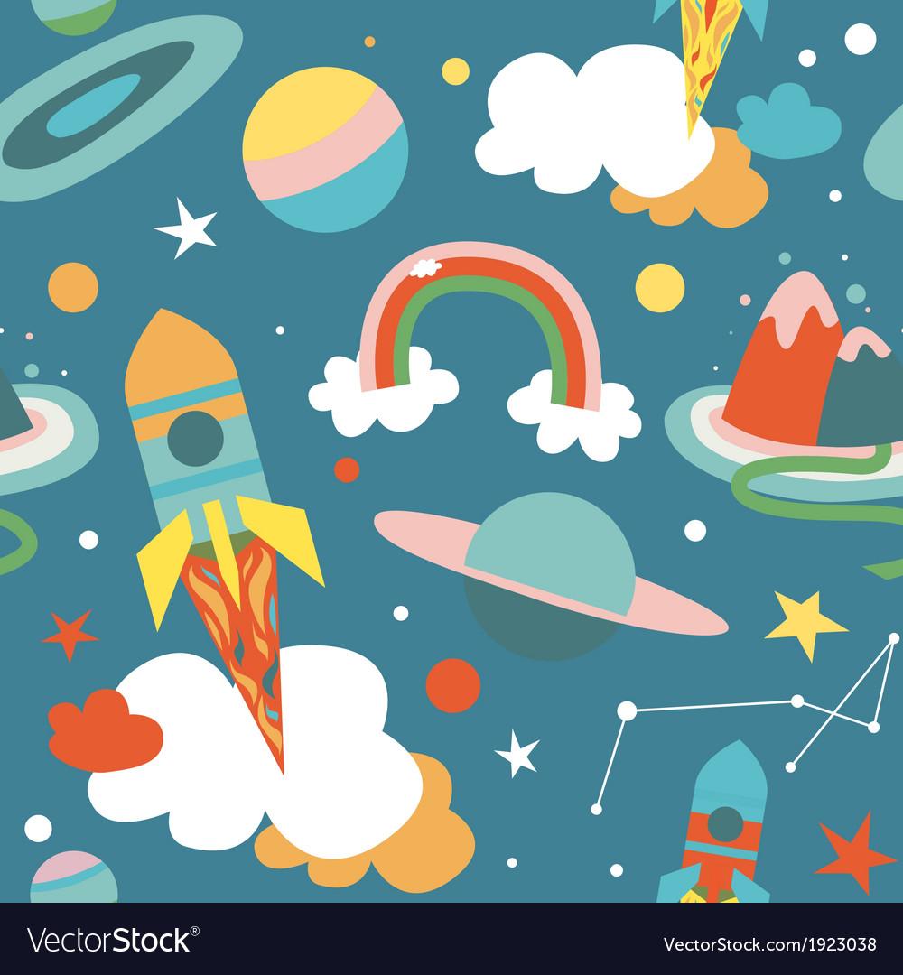 Cartoon cosmos blue seamless pattern vector   Price: 1 Credit (USD $1)