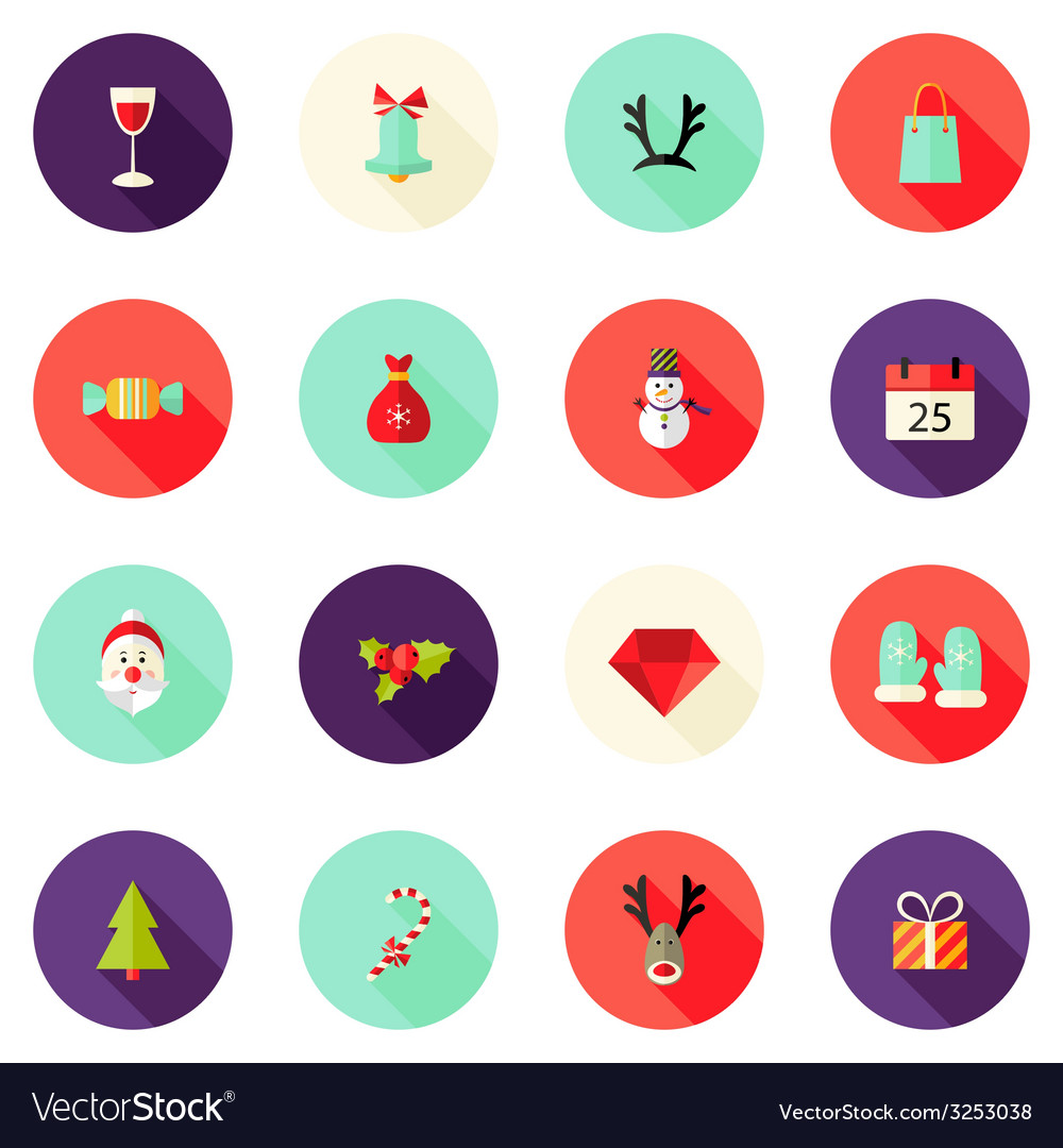 Christmas circle flat icons set 2 vector | Price: 1 Credit (USD $1)