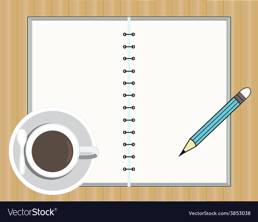 Coffee cup with book and pencil vector | Price: 1 Credit (USD $1)