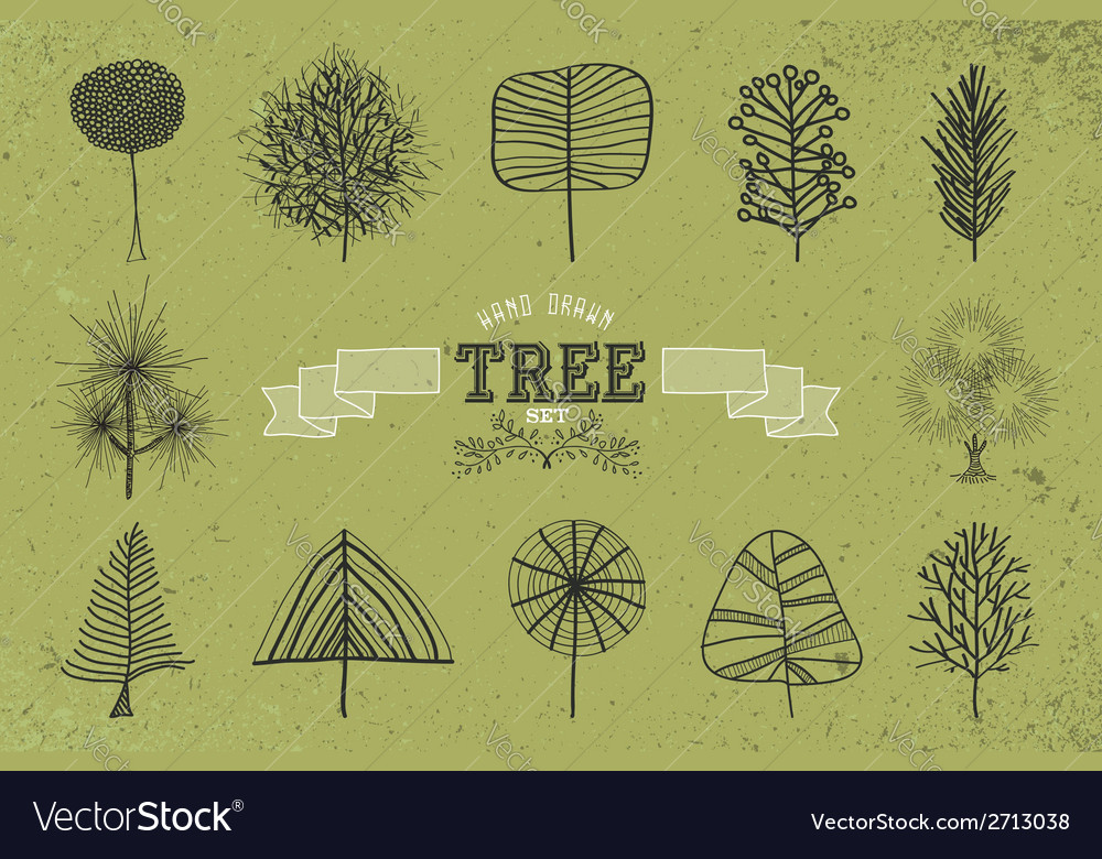 Custom hand drawn tree icons set vector | Price: 1 Credit (USD $1)