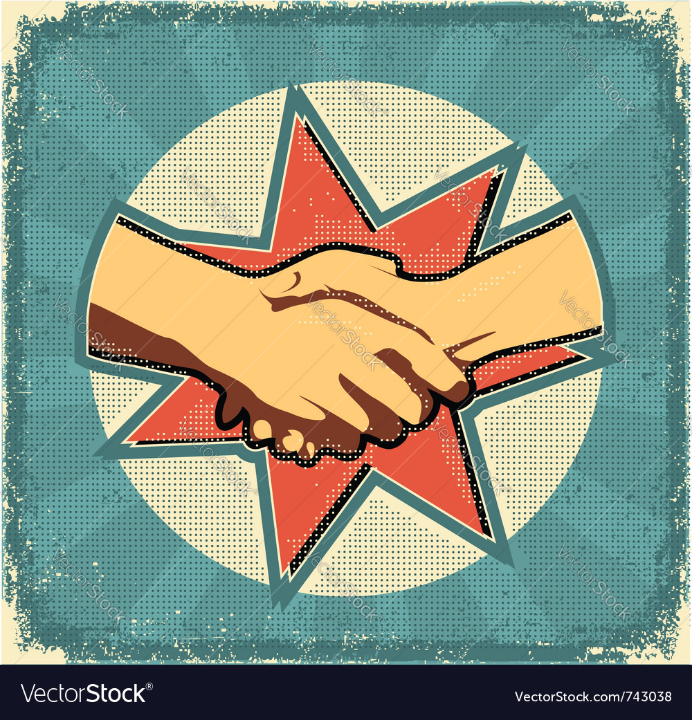 Handshake poster retro vector | Price: 1 Credit (USD $1)