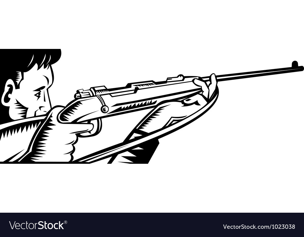 Hunter aiming rifle woodcut vector | Price: 1 Credit (USD $1)