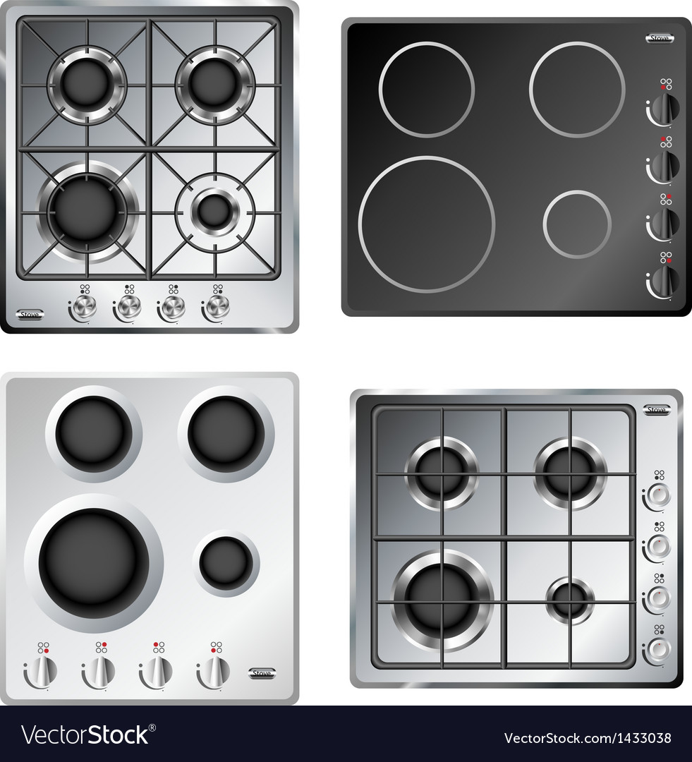 Kitchen stove hob set vector | Price: 1 Credit (USD $1)