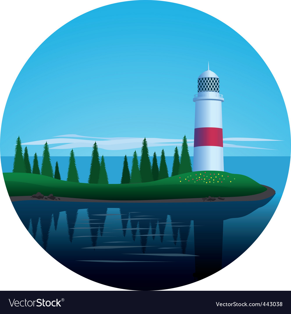 Lighthouse on island vector | Price: 1 Credit (USD $1)