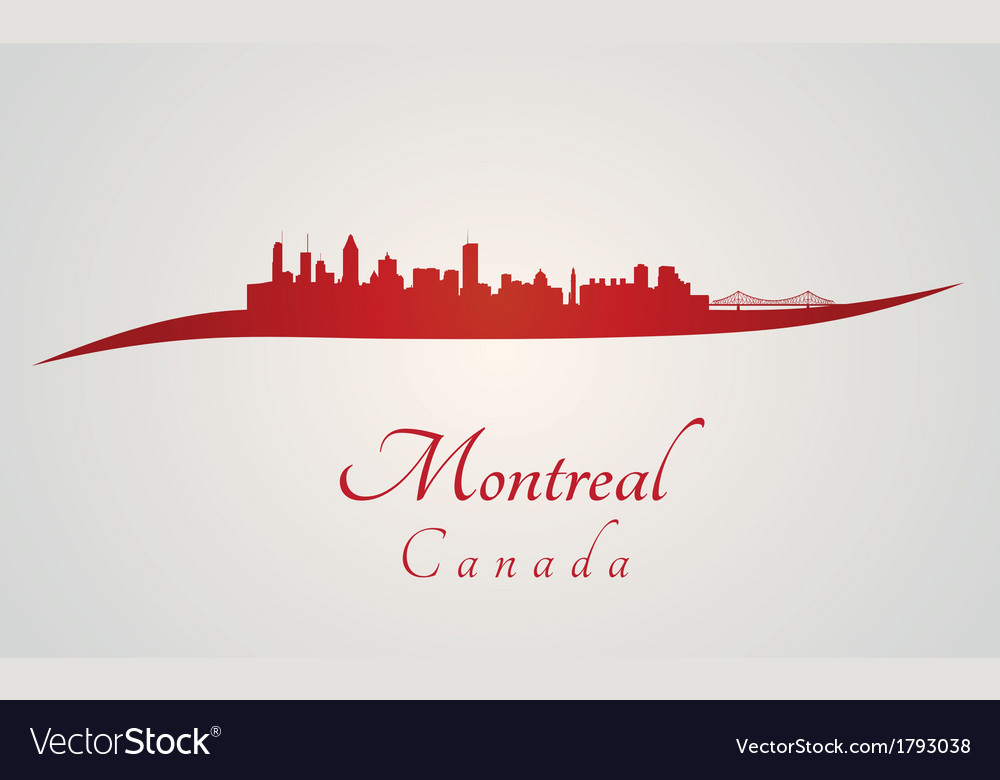 Montreal skyline in red vector | Price: 1 Credit (USD $1)