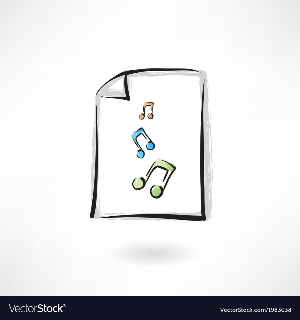 Music paper grunge icon vector | Price: 1 Credit (USD $1)