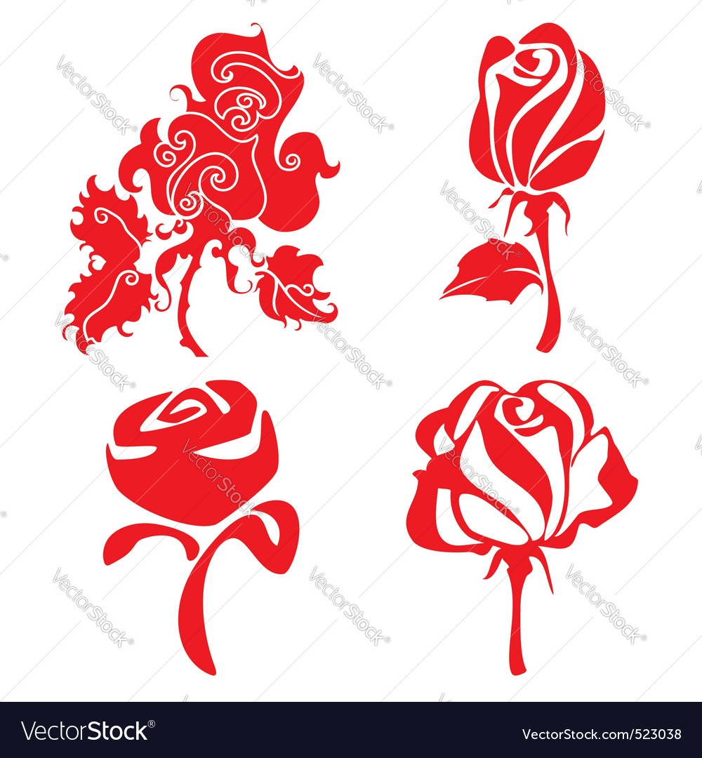 Red roses sign vector | Price: 1 Credit (USD $1)