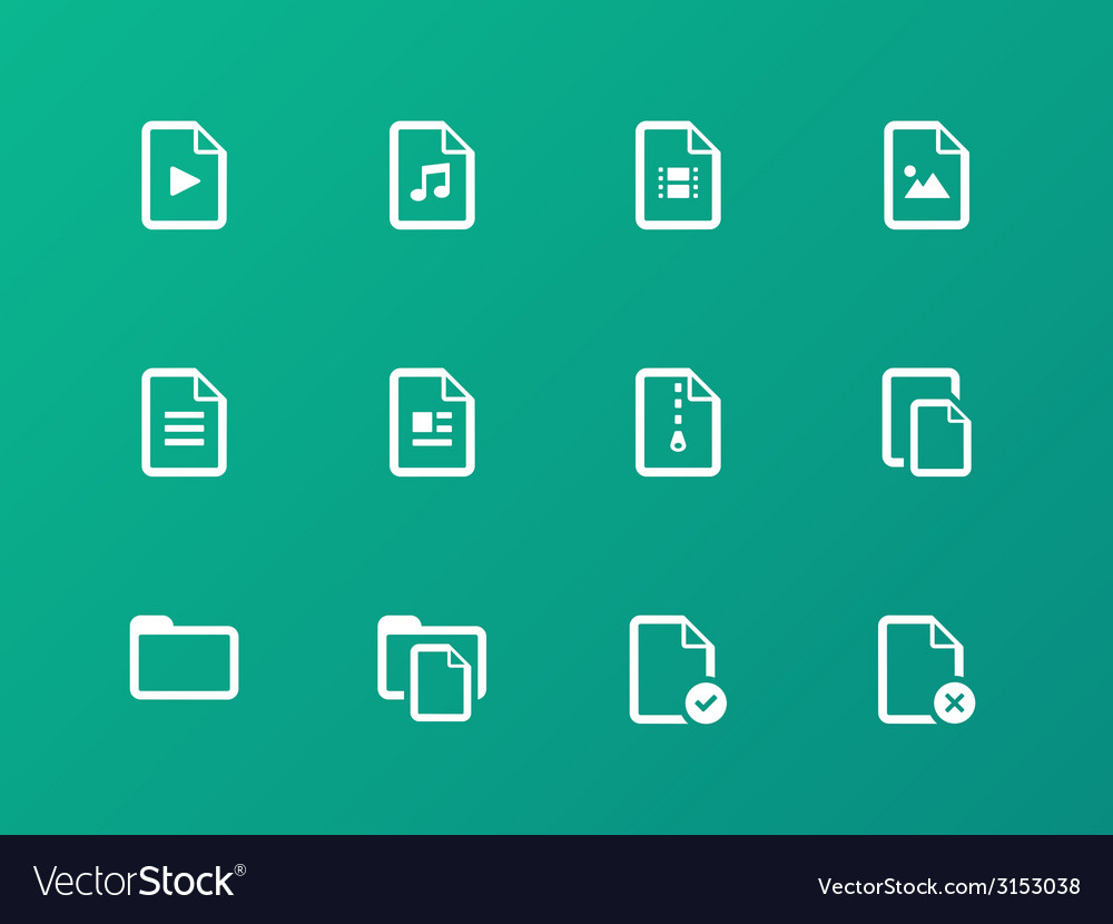 Set of files icons on green background vector | Price: 1 Credit (USD $1)