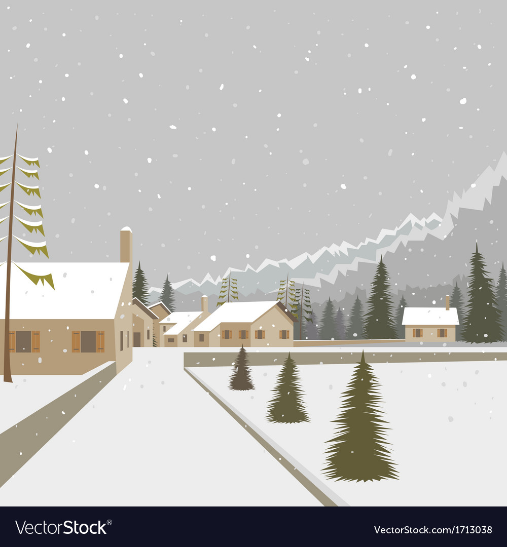 Winter mountain village ski resort vector | Price: 1 Credit (USD $1)