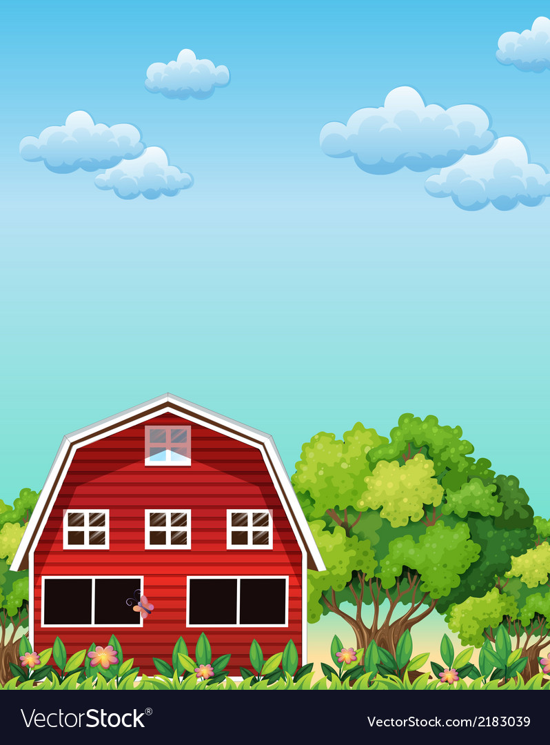 A red barnhouse near the trees vector | Price: 3 Credit (USD $3)
