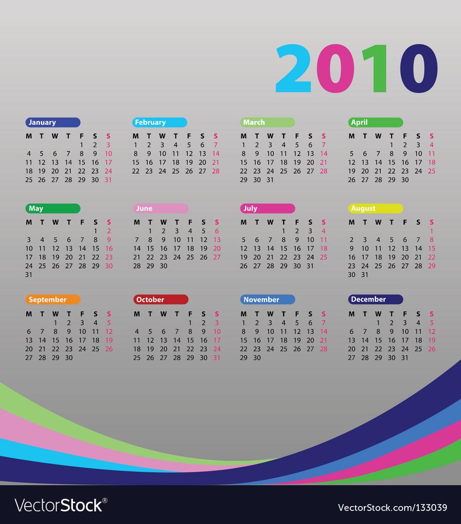 Calendar for 2010 vector | Price: 1 Credit (USD $1)