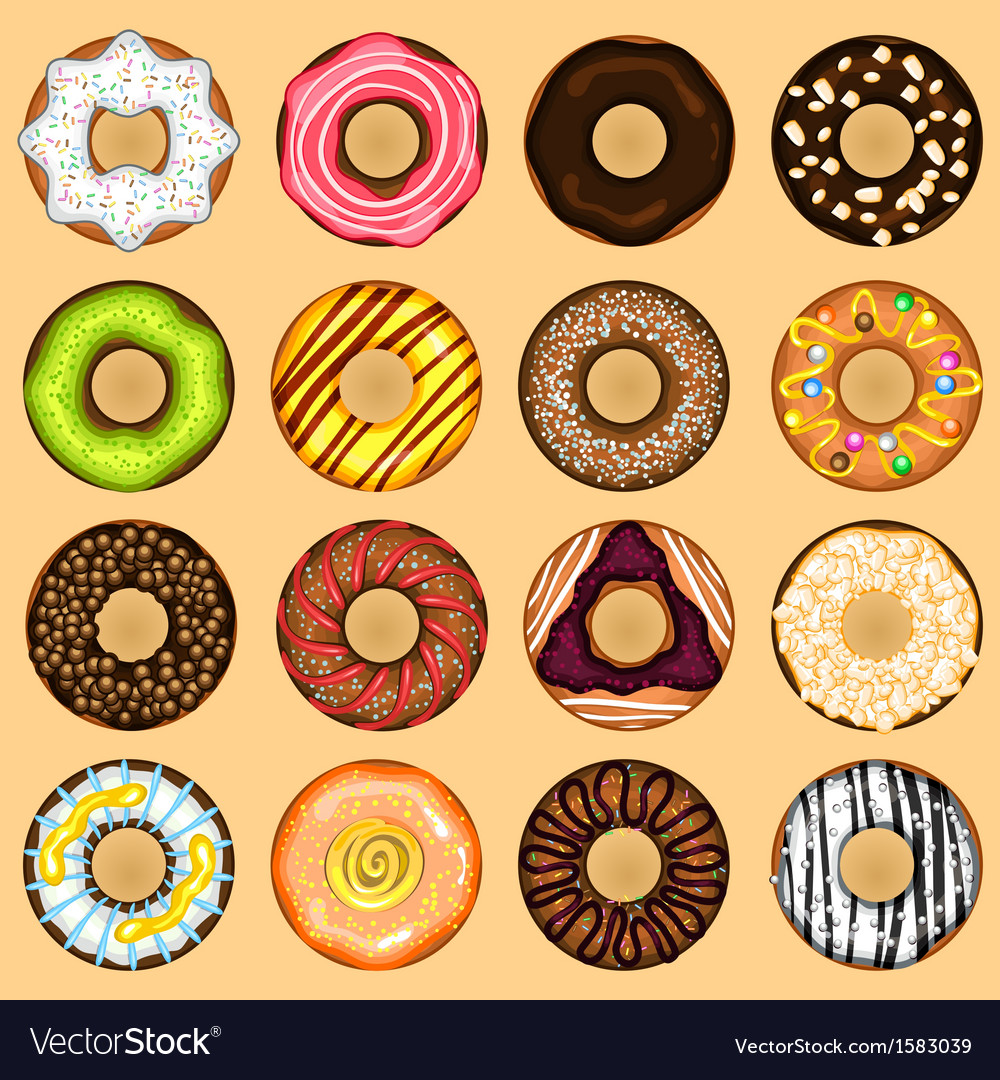 Donuts collection set vector | Price: 1 Credit (USD $1)