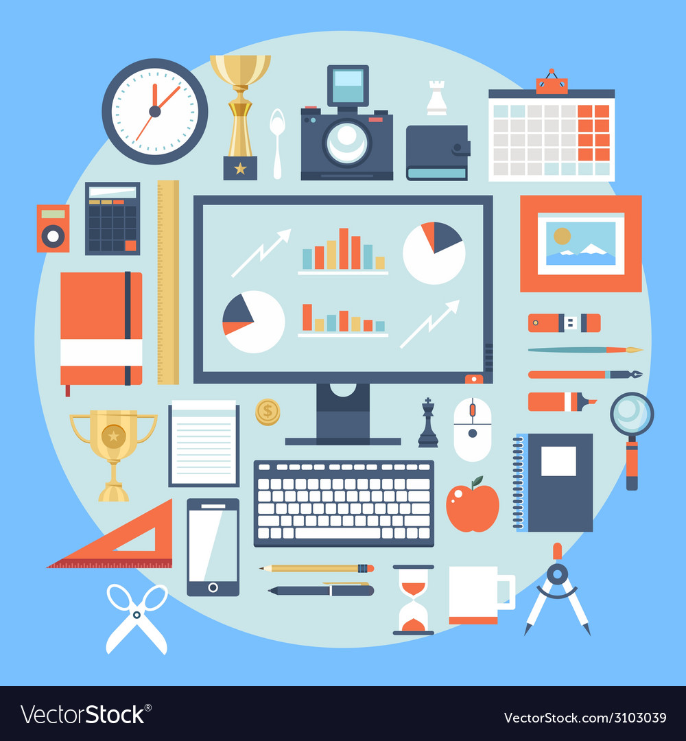 Flat design style modern icons set of office items vector | Price: 1 Credit (USD $1)