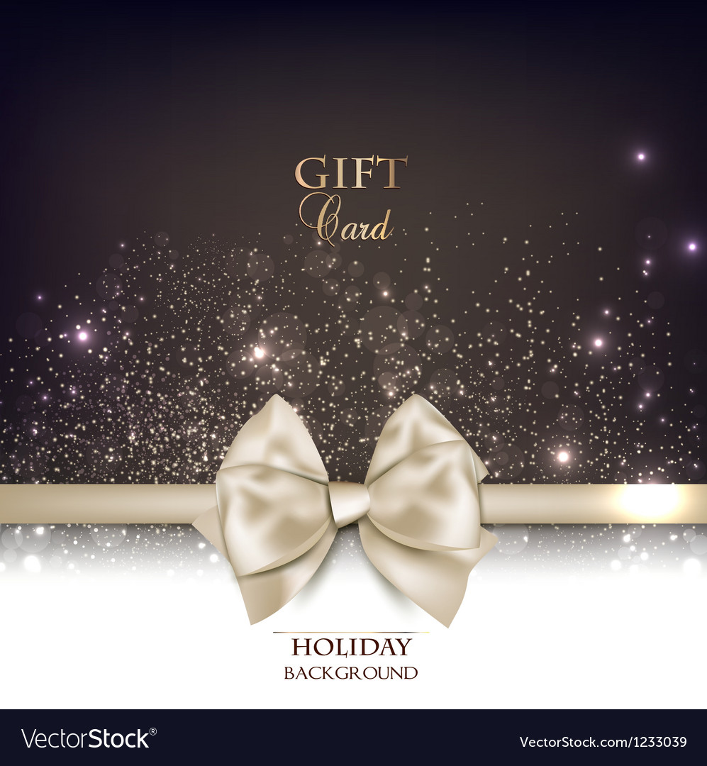 Gorgeous gift card with white bow and copy space vector | Price: 1 Credit (USD $1)