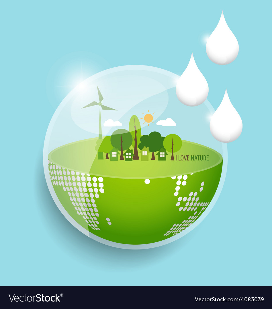 Green eco earth with water drop vector | Price: 1 Credit (USD $1)