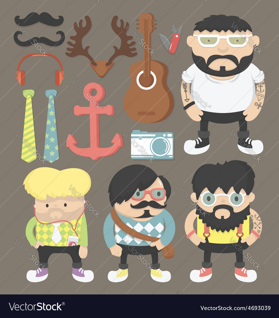 Hipster character design vector | Price: 1 Credit (USD $1)