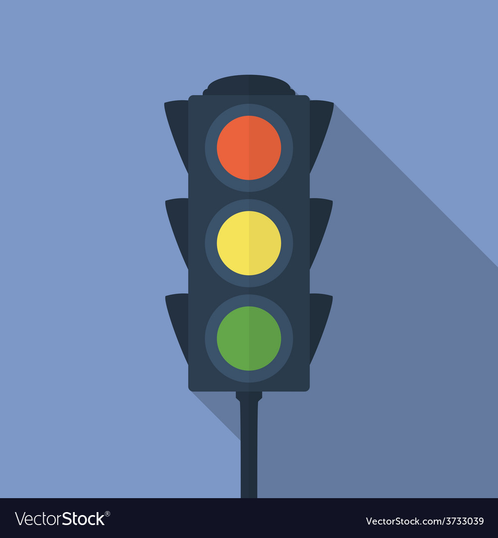 Icon of traffic light flat style vector | Price: 1 Credit (USD $1)