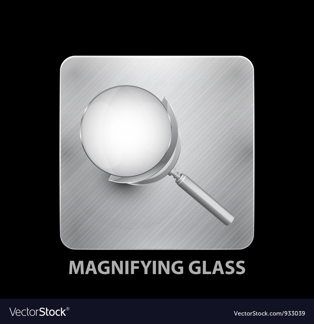 Magnifying glass mobile app button vector