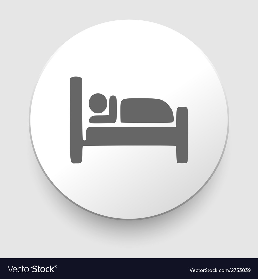 Man sleeping in bed at motel  icon vector