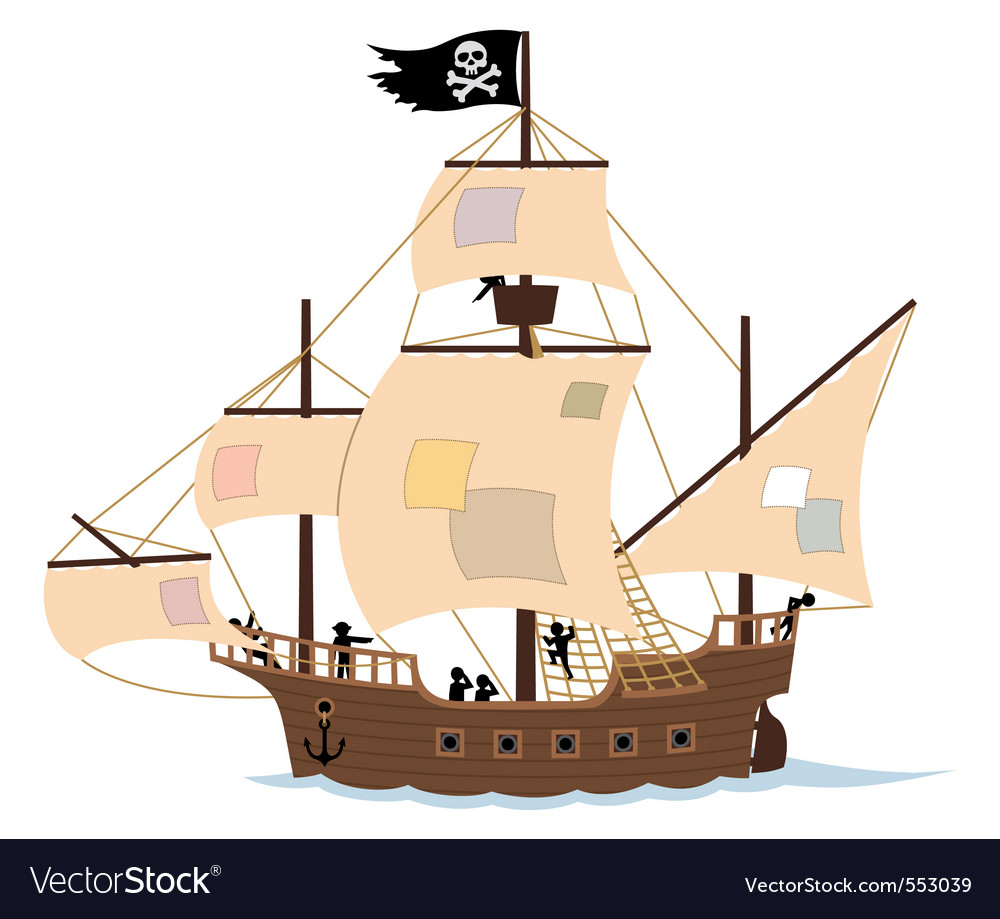 Pirate ship on white vector | Price: 1 Credit (USD $1)
