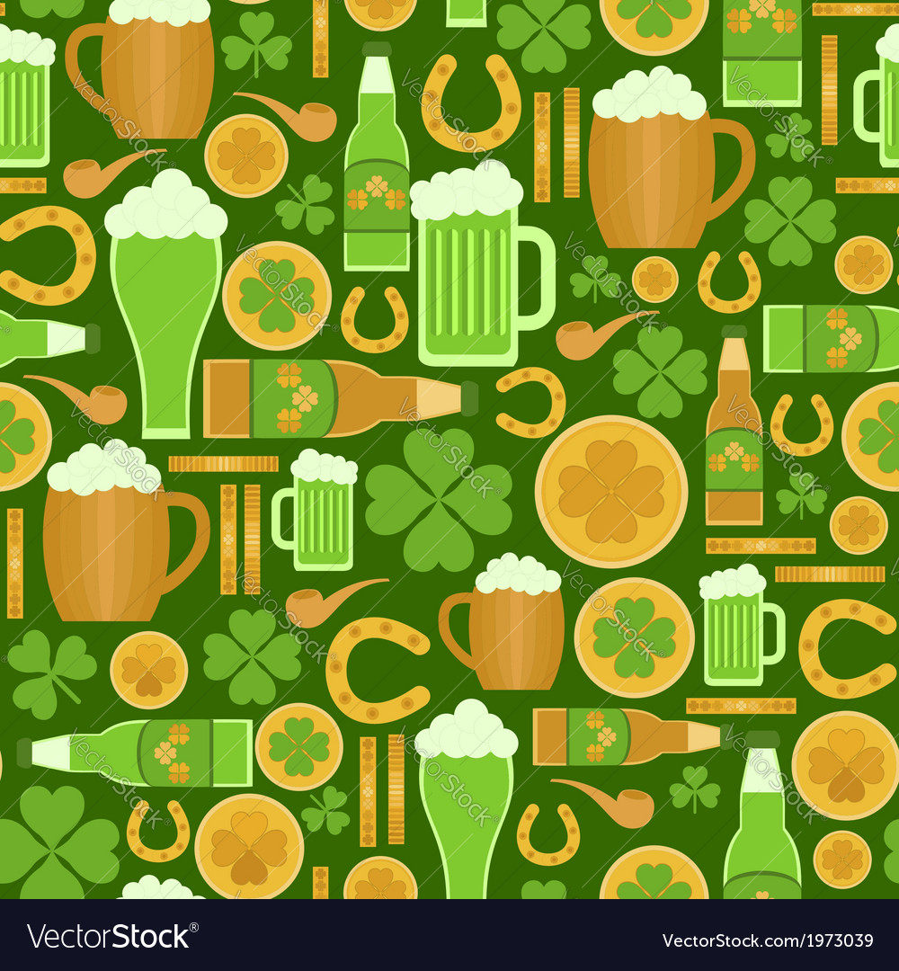 Seamless pattern of saint patricks day objects vector | Price: 1 Credit (USD $1)