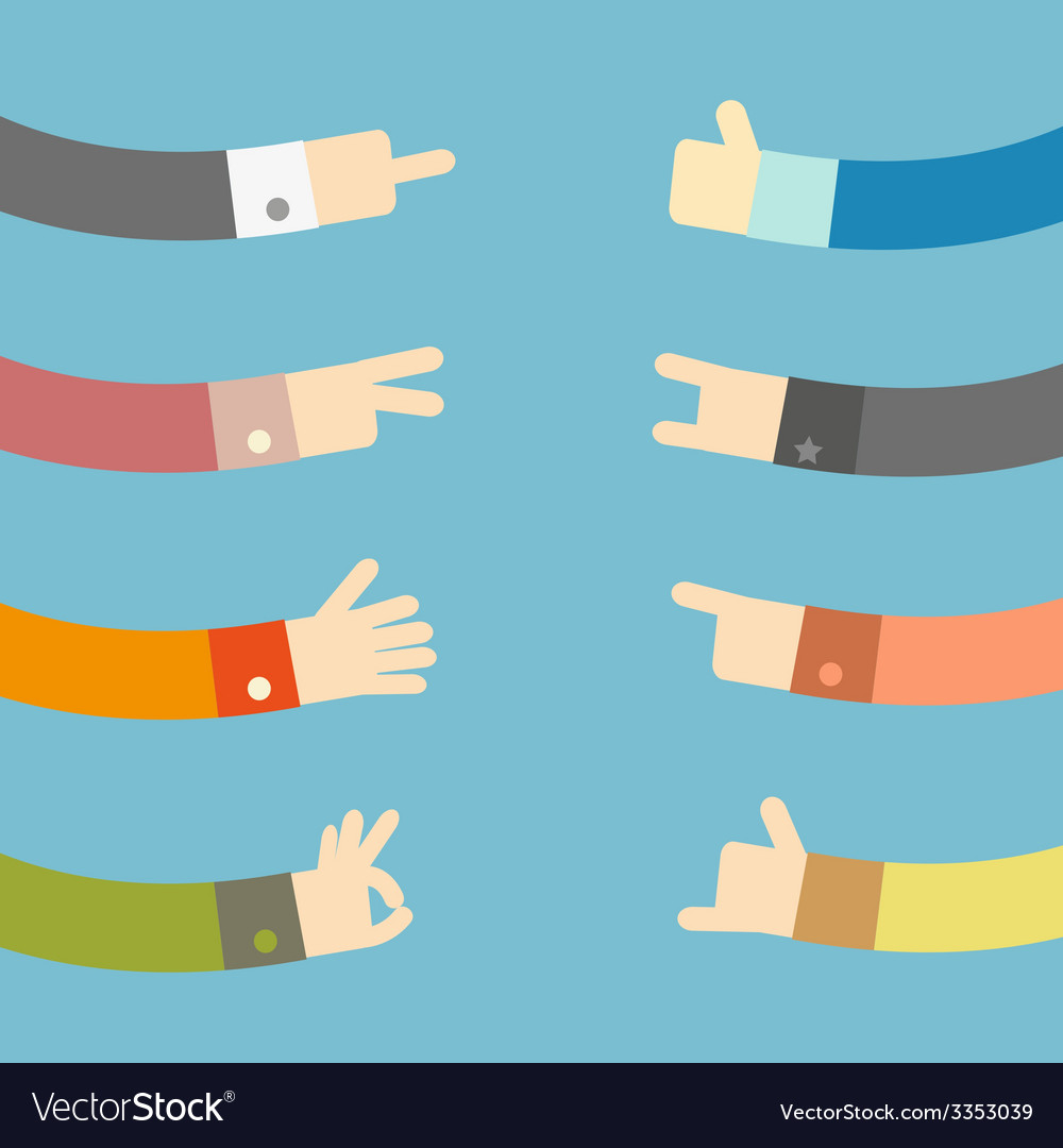 Set of flat hands design vector | Price: 1 Credit (USD $1)