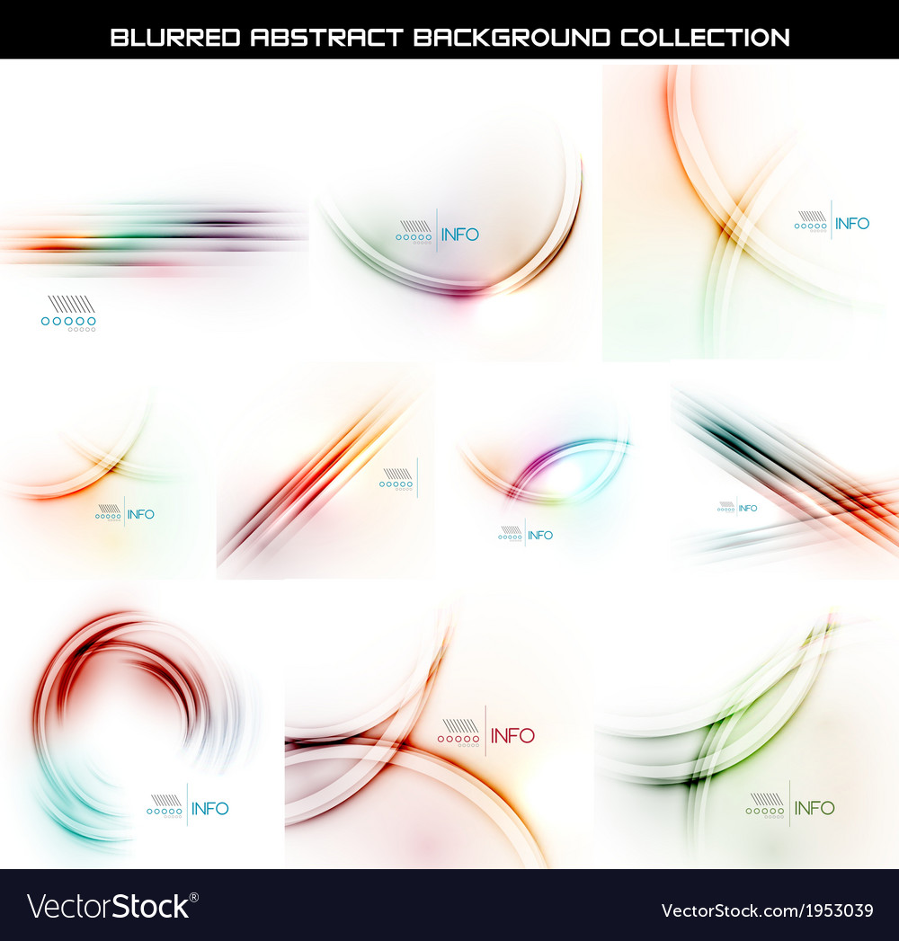 Set of smooth blurred waves backgrounds vector | Price: 1 Credit (USD $1)