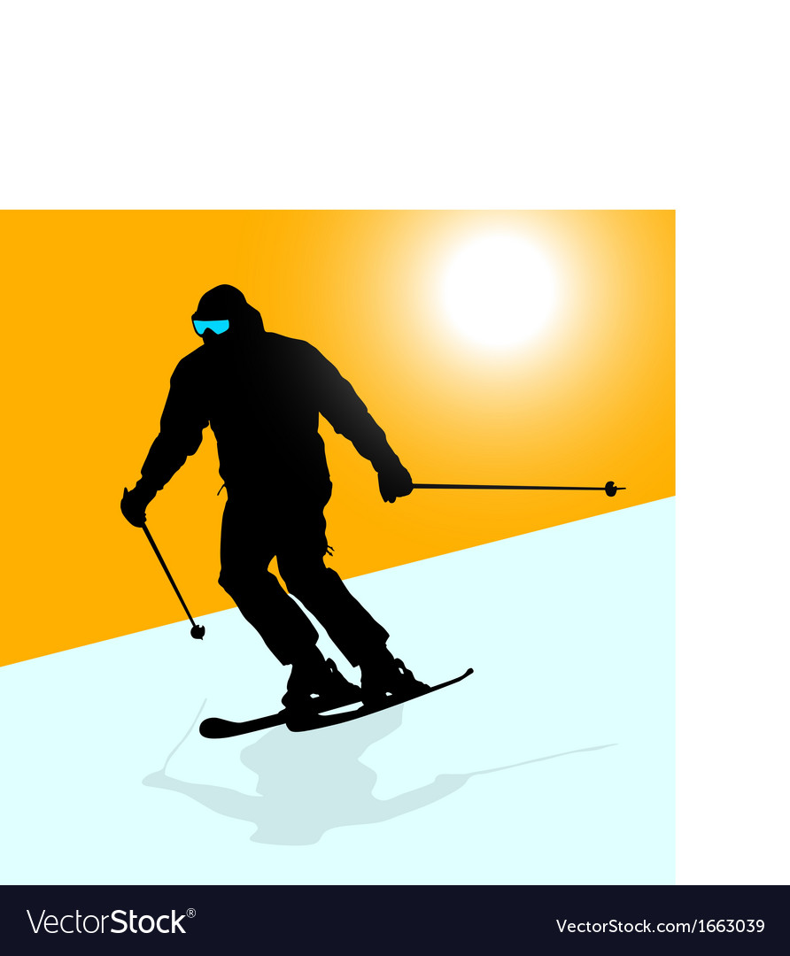 Skier speeding down slope sport silhouette vector | Price: 1 Credit (USD $1)