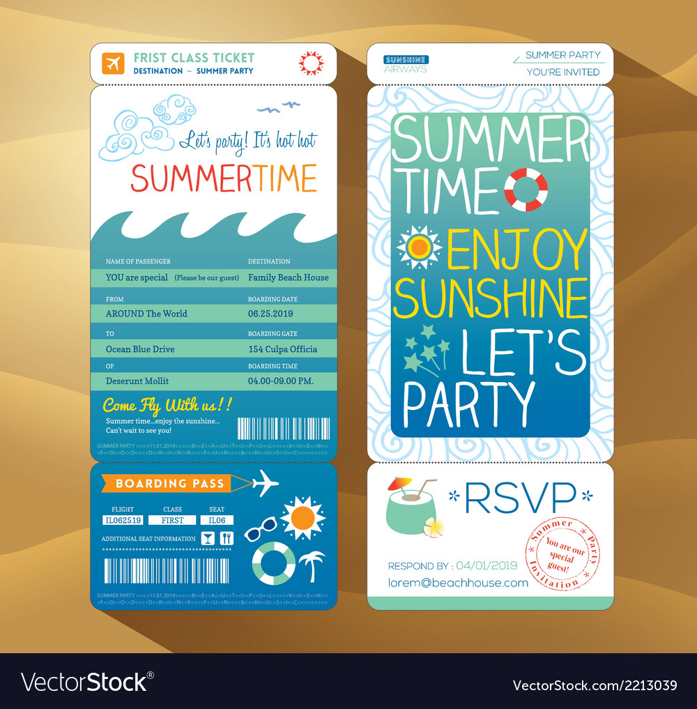 Summer holiday party boarding pass background vector | Price: 1 Credit (USD $1)
