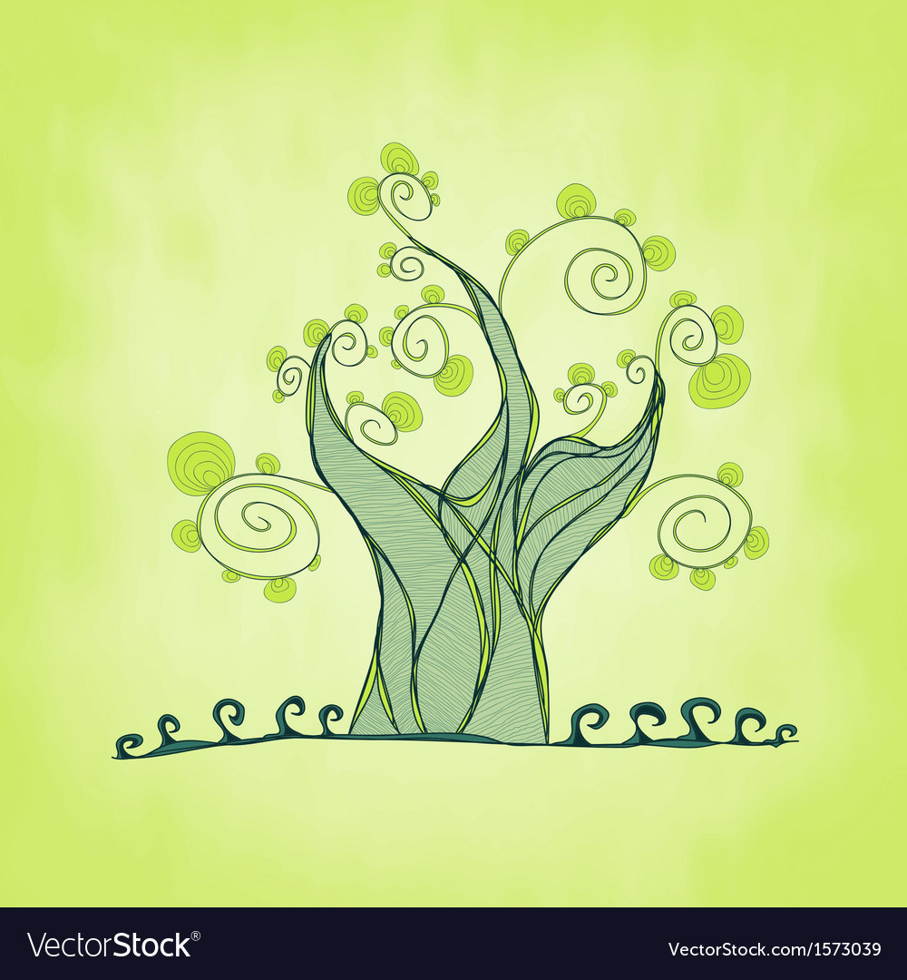 Tree with branches and leaves fresh grass vector | Price: 1 Credit (USD $1)