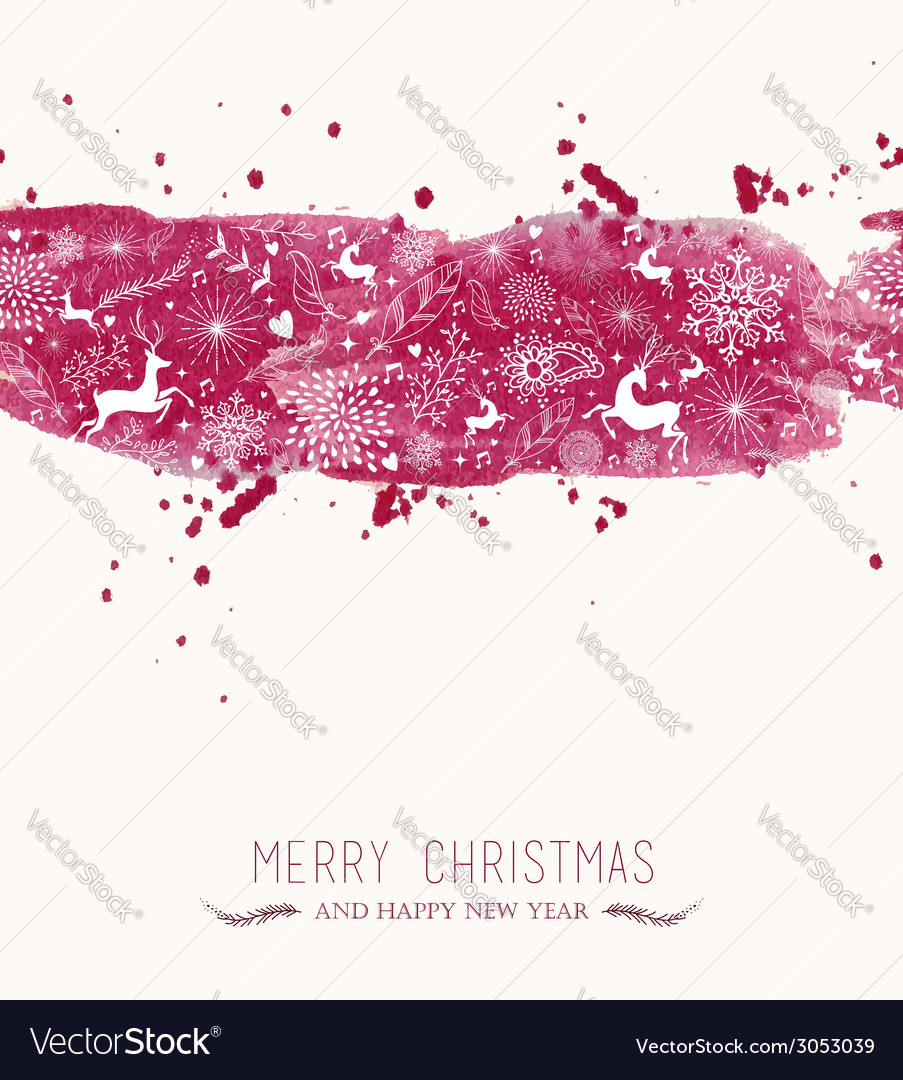 Watercolor christmas banner seamless pattern vector | Price: 1 Credit (USD $1)