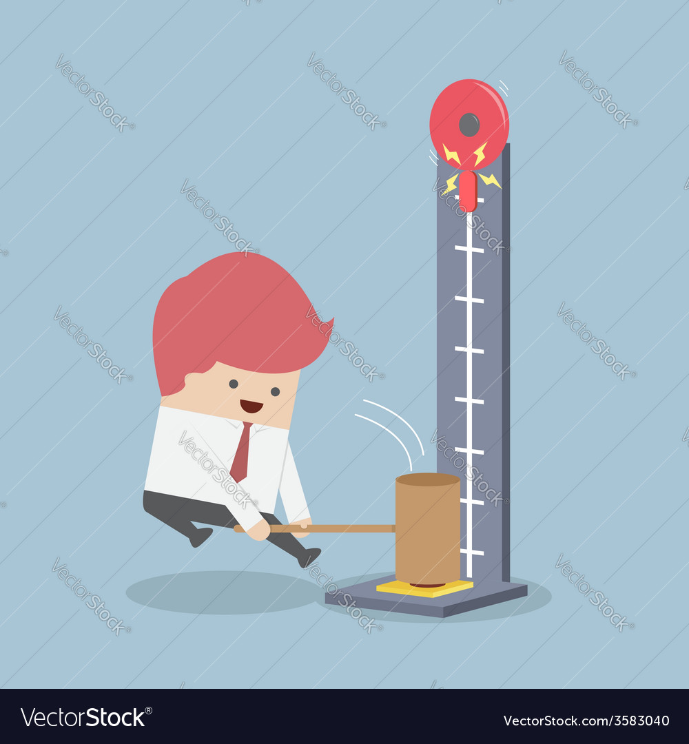 Businessman at a carnival hitting a strength teste vector | Price: 1 Credit (USD $1)