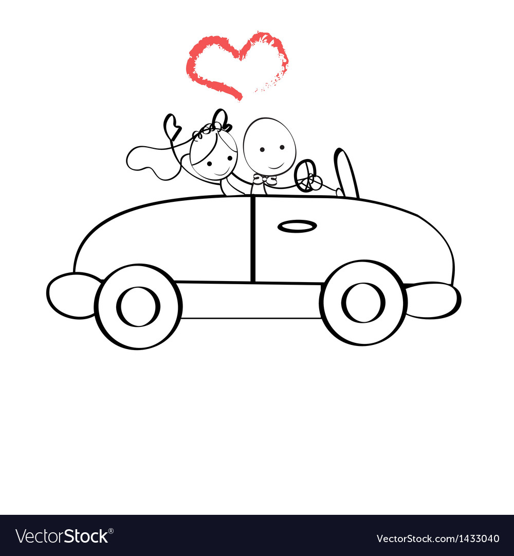 Doodle the bride and groom riding vector | Price: 1 Credit (USD $1)