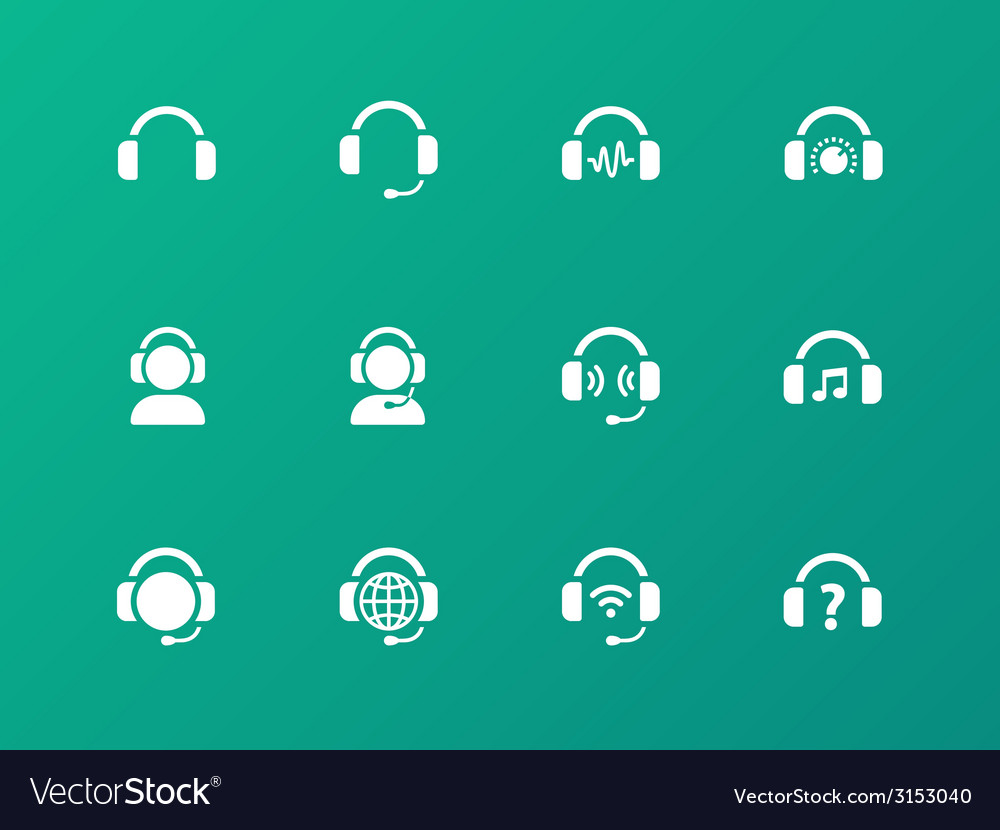 Earphones icons on green background vector | Price: 1 Credit (USD $1)