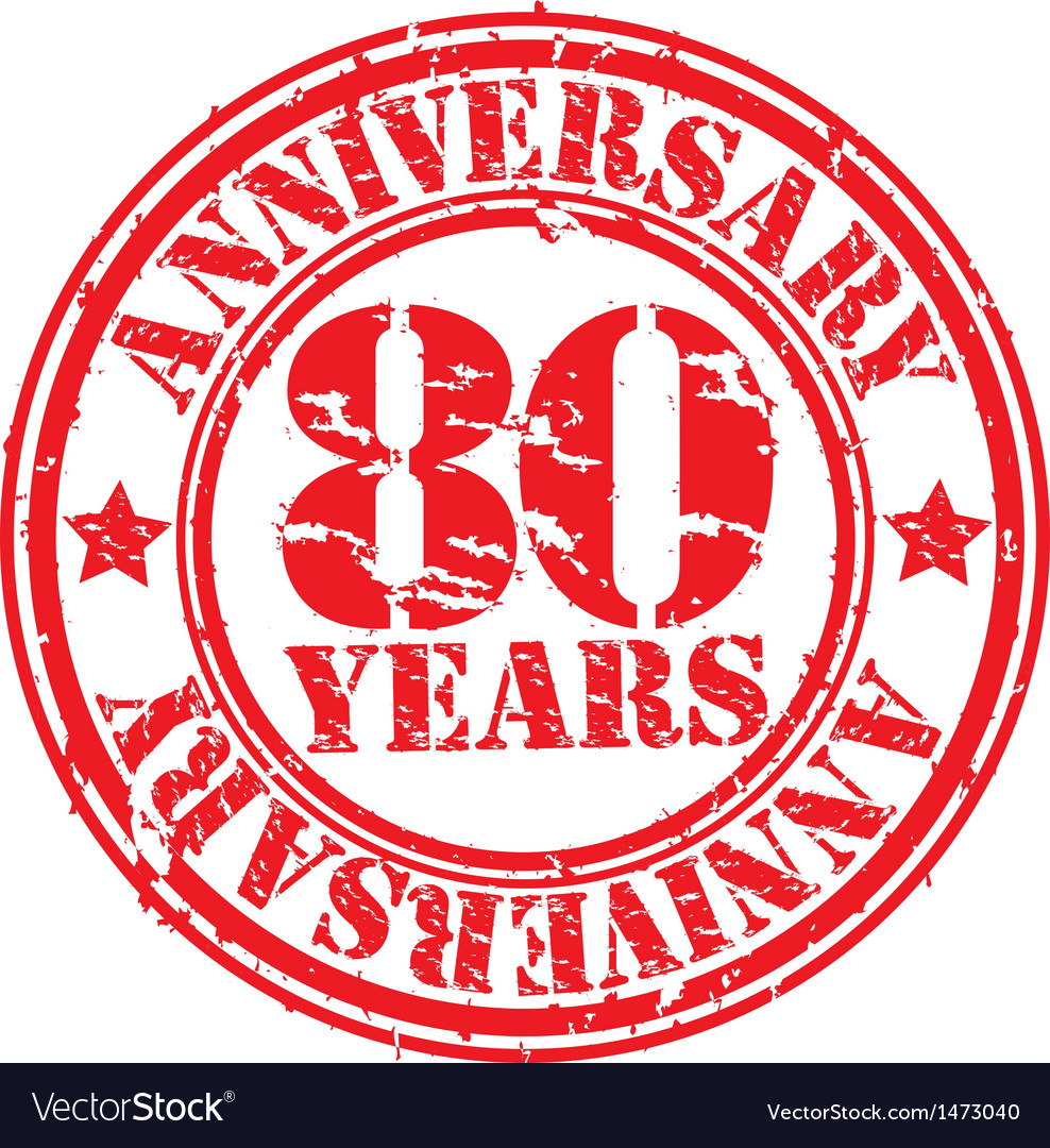 Grunge 80 years anniversary rubber stamp vector | Price: 1 Credit (USD $1)