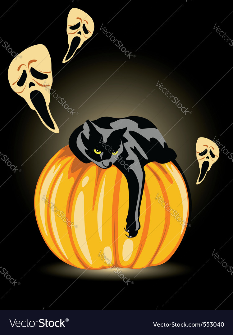 Halloween pumpkin ghost and black cat on a black b vector   Price: 1 Credit (USD $1)