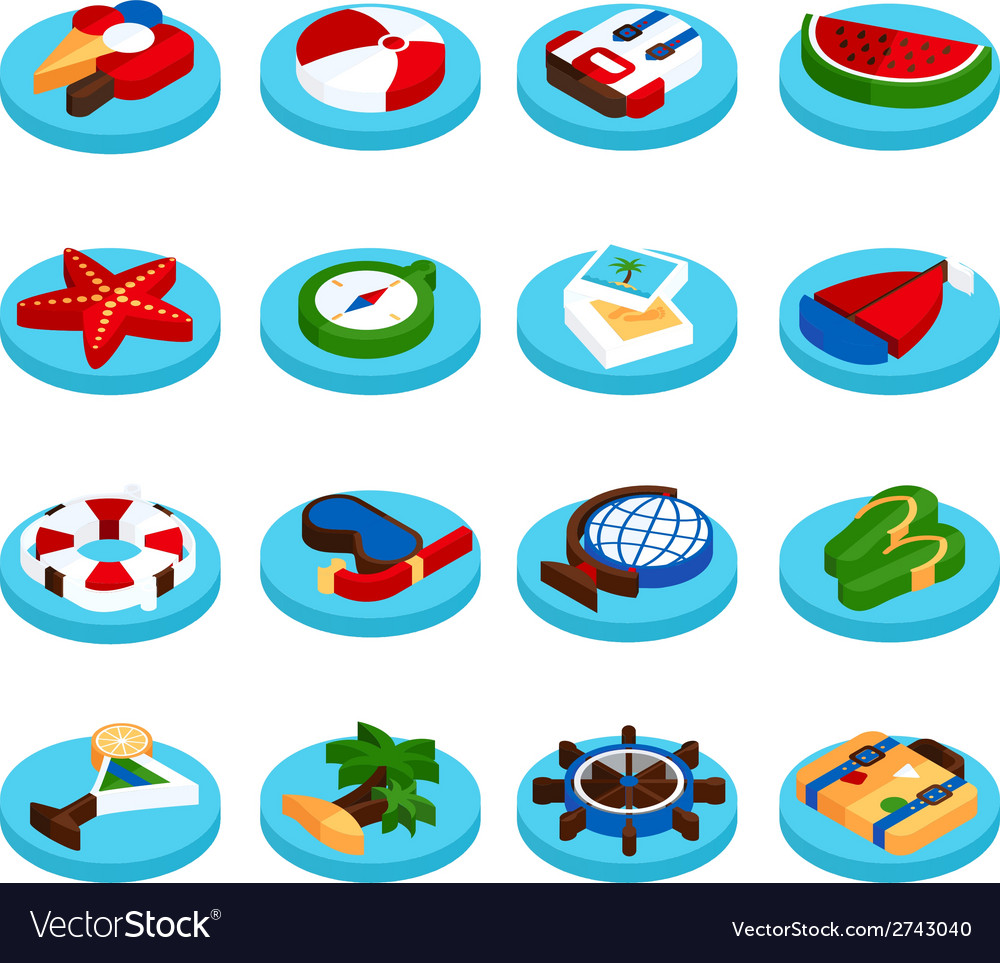 Holiday vacation isometric set vector | Price: 1 Credit (USD $1)