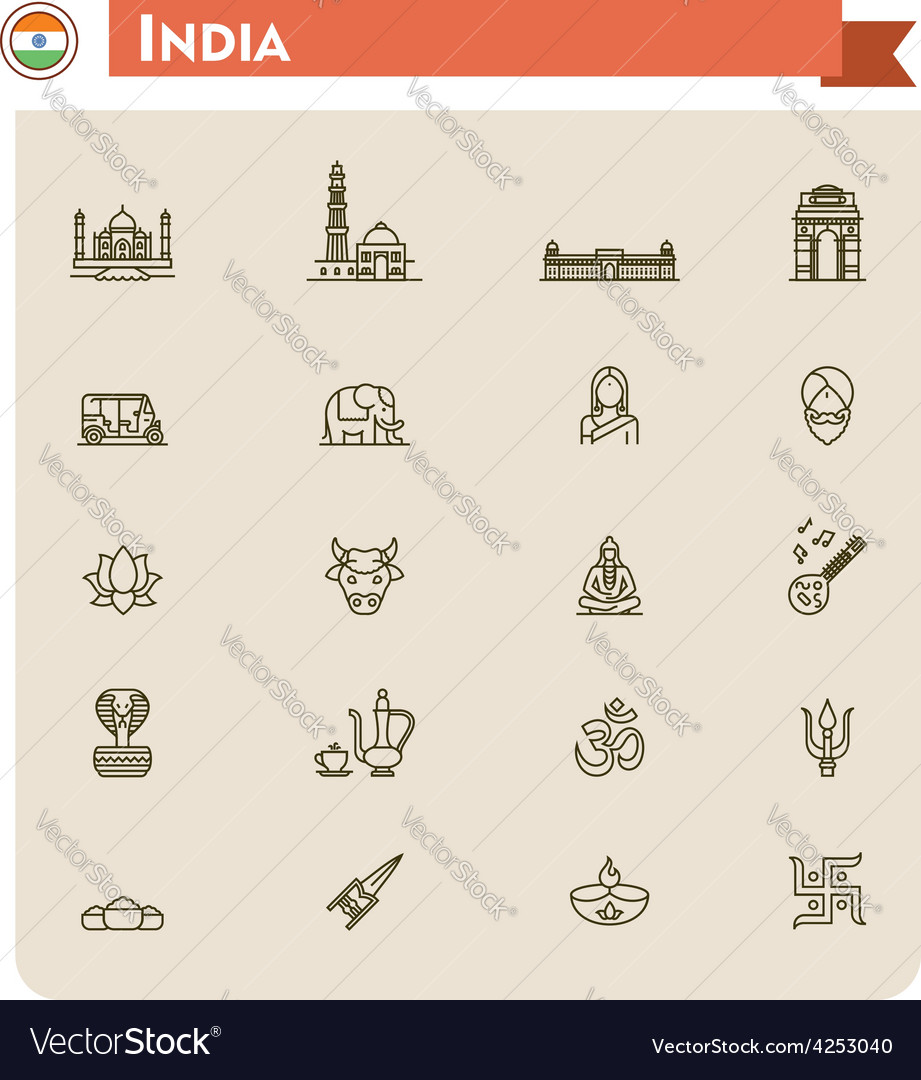 India travel icon set vector   Price: 1 Credit (USD $1)
