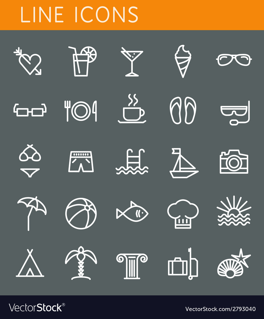 Line icons set summer holidays vacation and travel vector | Price: 1 Credit (USD $1)