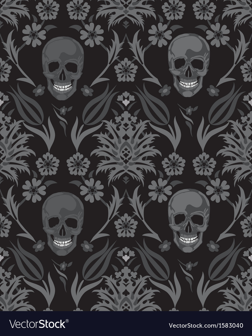 Seamless flower skull object scull vector | Price: 1 Credit (USD $1)