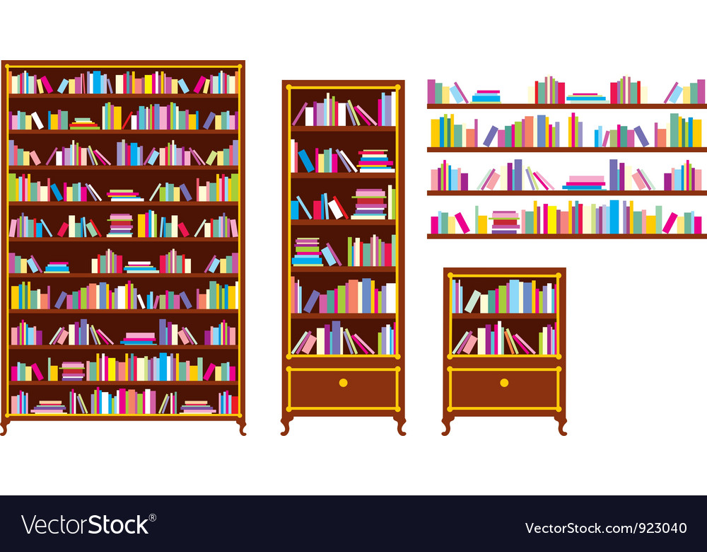 Set of bookcases and shelves vector | Price: 1 Credit (USD $1)