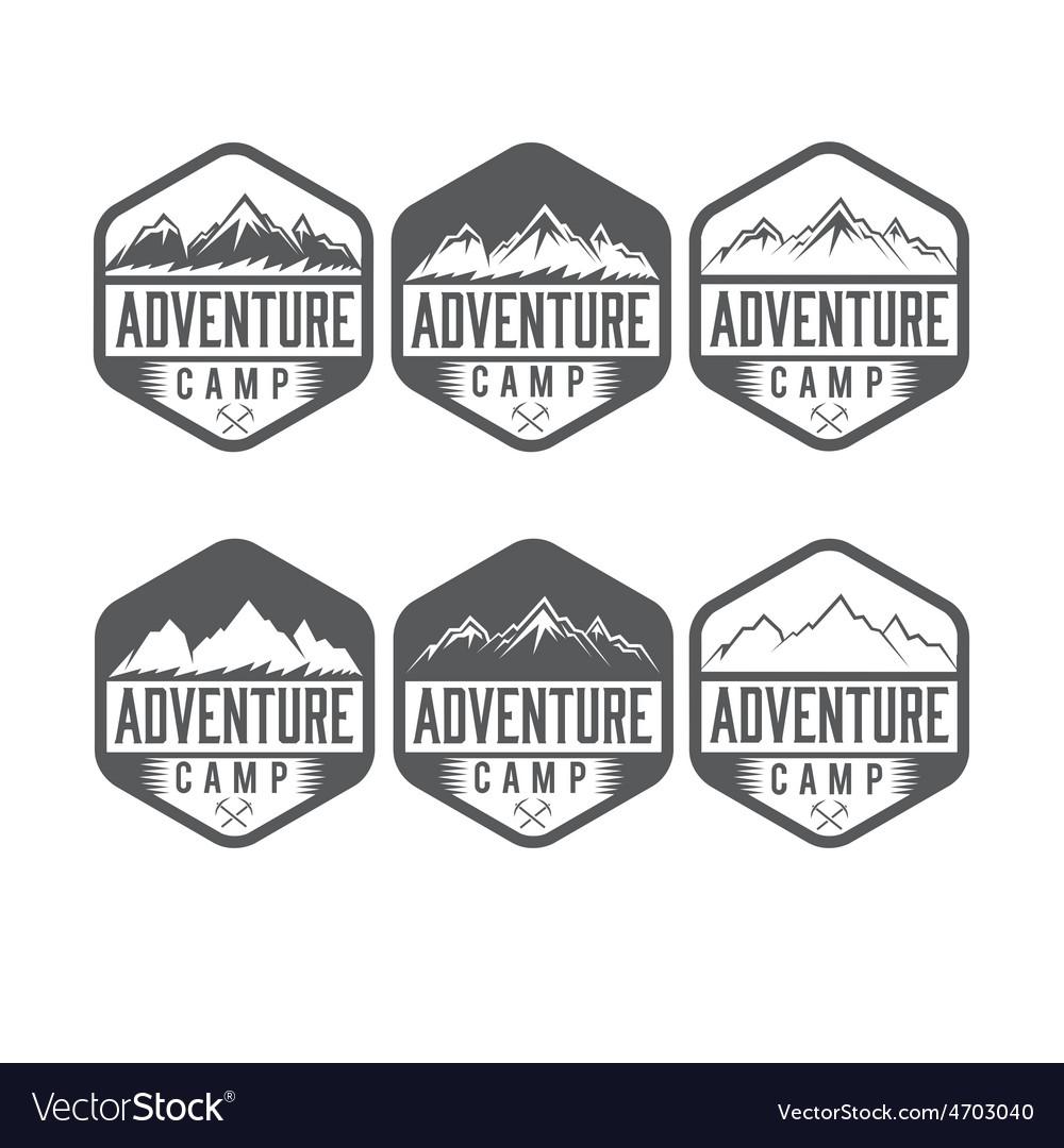 Set of vintage labels adventure camp vector | Price: 1 Credit (USD $1)