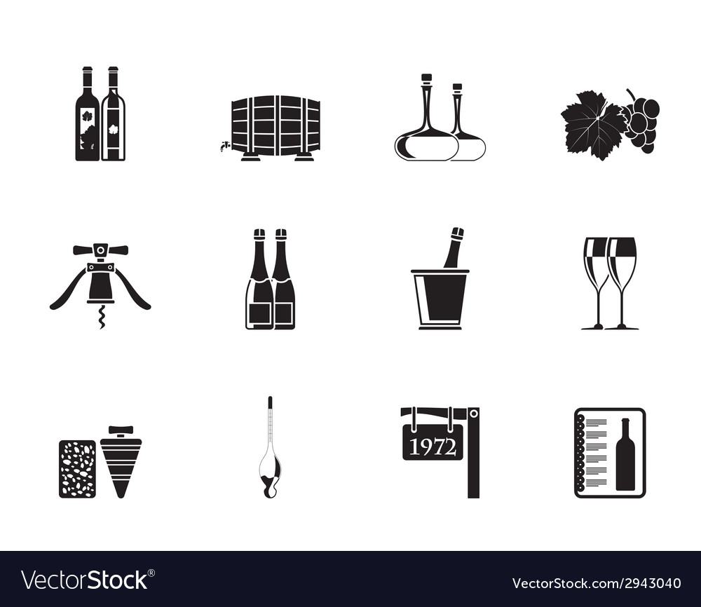 Silhouette wine and drink icons vector | Price: 1 Credit (USD $1)