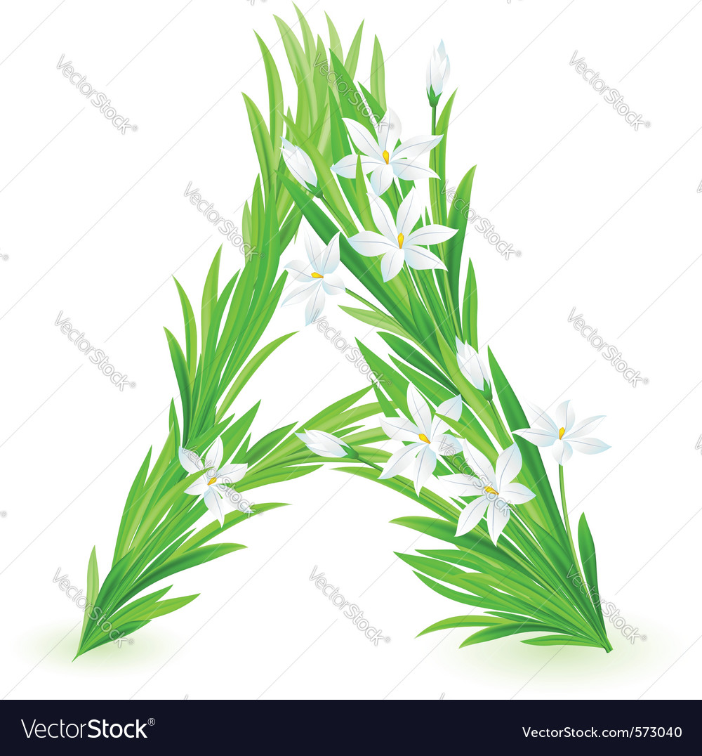 Spring flowers alphabet a vector | Price: 1 Credit (USD $1)