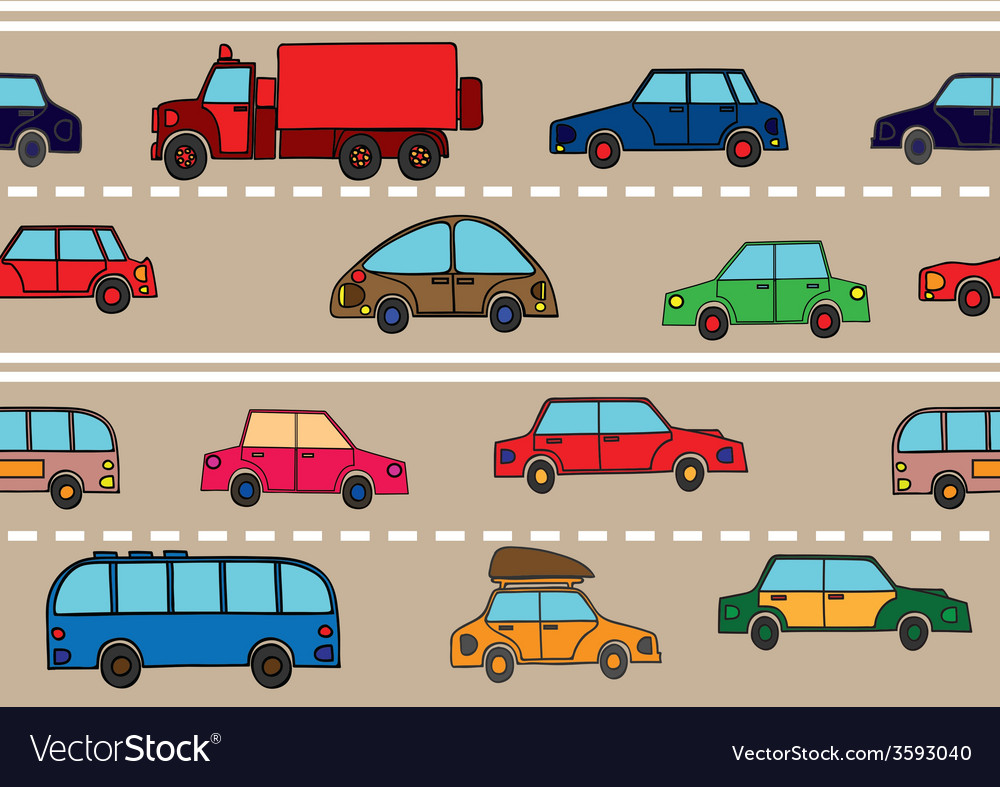 Stream of cars on the road vector | Price: 1 Credit (USD $1)