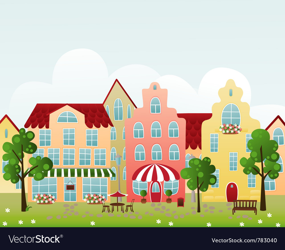 Town street vector | Price: 1 Credit (USD $1)