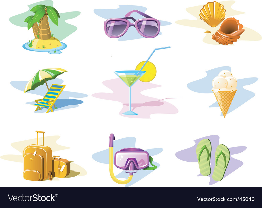 Travel and vacation icons vector | Price: 3 Credit (USD $3)